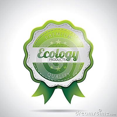 Wektorowy ekologia produkt Przylepia etykietkę ilustrację z błyszczącym projektującym projektem na jasnym tle. EPS 10.