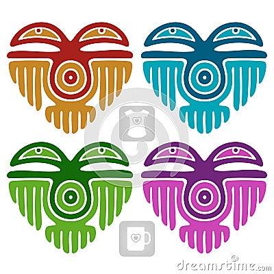 Wektorowy indianina wzór w formie serca