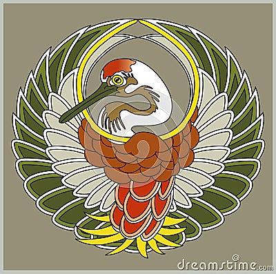 Wektorowy japończyka żurawia symbol