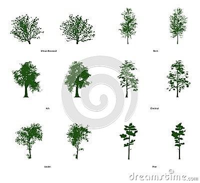 6 Wektorowych klamerki sztuki drzew