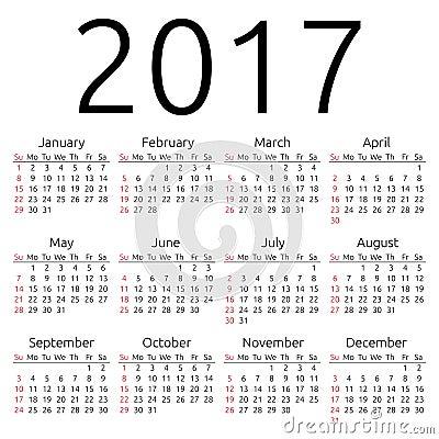 Prosty 2017 rok kalendarz,
