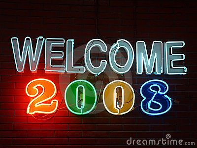 Welcome 2008 Neon Sign
