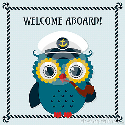 Free Welcome Aboard! Vector Card With Owl. Royalty Free Stock Photo - 55997045