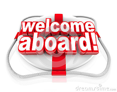 Welcome Aboard Words Life Preserver Greeting