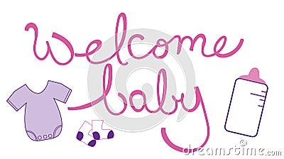 Welcome Baby Girl Stock Vector Image 62377141
