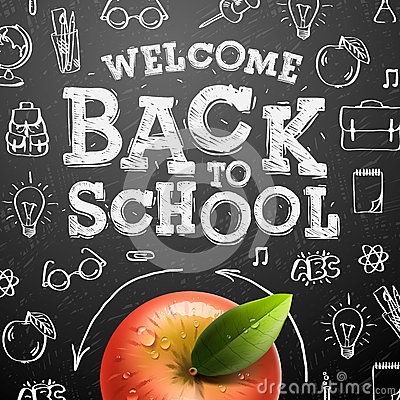 Free Welcome Back To School Background With Red Apple Stock Photography - 40852792