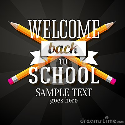 Free Welcome Back To School Greeting With Two Crossed Royalty Free Stock Photo - 42888025