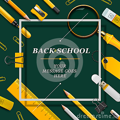 Free Welcome Back To School Template With Schools Royalty Free Stock Photography - 48012657