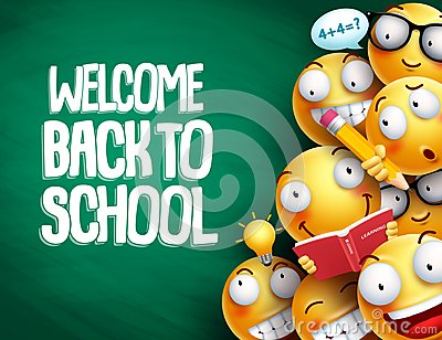Welcome back to school text and smileys with facial expressions Vector Illustration
