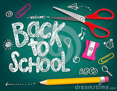 Welcome Back to School Title Written in a Chalk Board Vector Illustration
