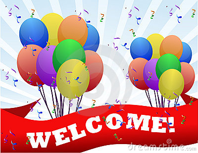 Welcome balloons and banner