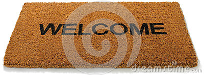 Welcome front door mat isolated white