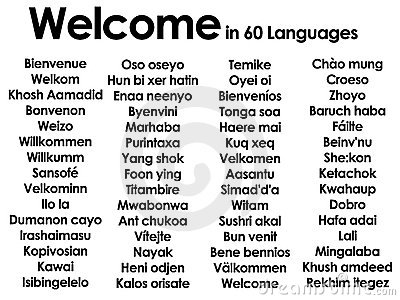 Welcome in lots of 60 different languages