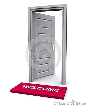 Welcome mat and open door