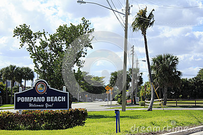 Welcome Sign to Pompano Beach, Florida Editorial Image