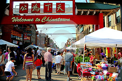 Welcome to chinatown CHICAGO,ILLINOIS JULY 2012 Editorial Stock Photo