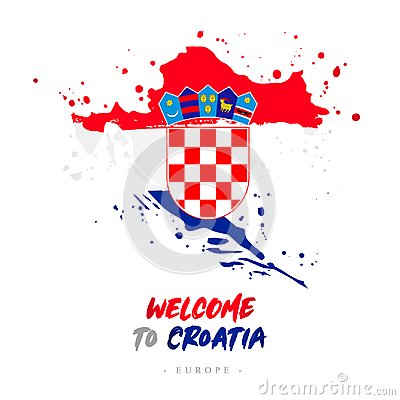 Free Welcome To Croatia. Flag And Map Of The Country Stock Images - 118751964