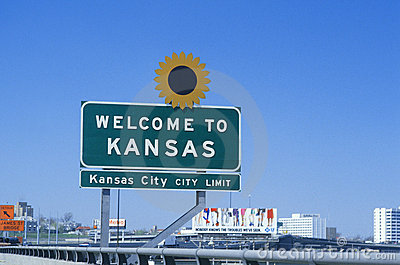 Welcome to Kansas Sign Editorial Stock Photo