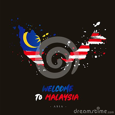Free Welcome To Malaysia. Flag And Map Of The Country Stock Image - 118998261
