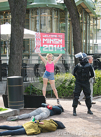 Welcome to Minsk protest Editorial Photo
