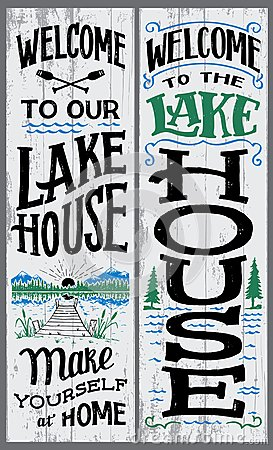 Free Welcome To Our Lake House Sign Stock Photography - 110740842