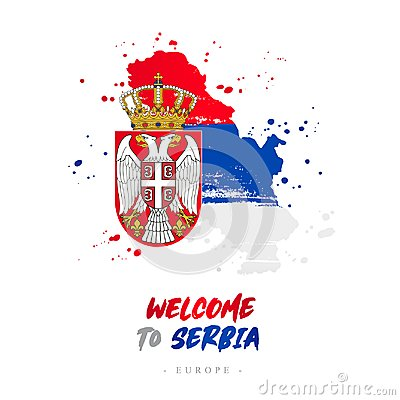 Free Welcome To Serbia. Flag And Map Of The Country Stock Photo - 118751970