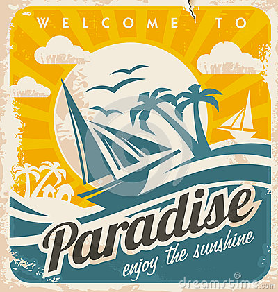 Free Welcome To Tropical Paradise Vintage Poster Design Royalty Free Stock Photography - 36610147