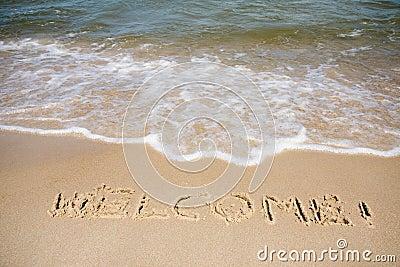 Welcome written in sandy beach