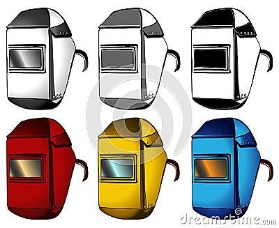 Welder, masks, set of different colors