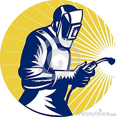 Welder welding at work retro style
