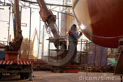 Welding on ship hull