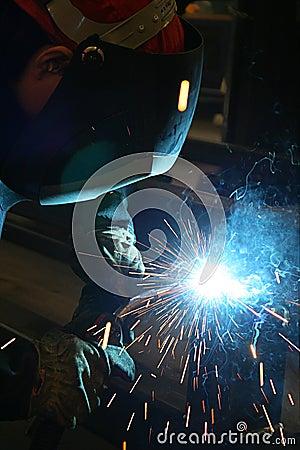 Welding sparks