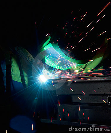 Welding steel rod and sparks