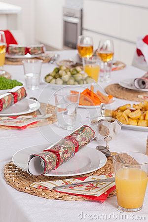 Well decorated christmas dinner table