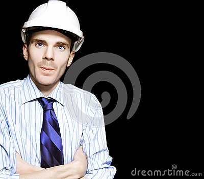 Well Dressed Engineer Isolated On Black Background Stock Photo