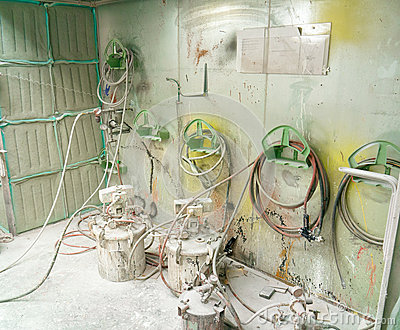 Well used paint booth