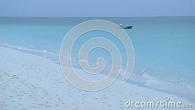 Wellen, die oben auf Strand des frühen Morgens sich waschen stock video footage