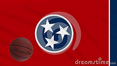 Wellen und Basketballrotte der Tennessee-Fahne, Schleife stock video footage