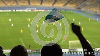 Wellenartig bewegende Flagge des aufgeregten Fußballfans von Argentinien, jubelnd für Nationalmannschaft, Ziel zu stock video footage