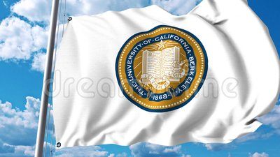 Wellenartig bewegende Flagge mit Emblem University of Californias Berkeley Klipp des Leitartikels 4K stock abbildung