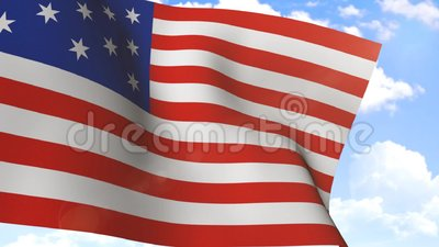 Wellenartig bewegende Flagge von USA stock video footage