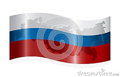 Wellenartig bewegende russische Markierungsfahne