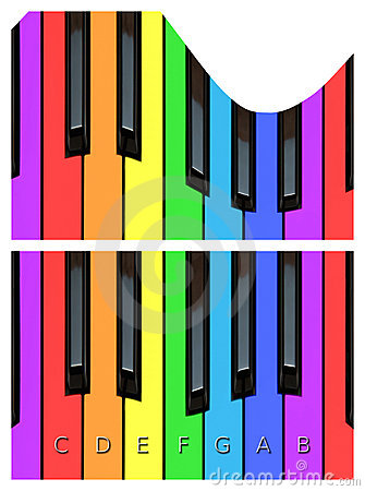 Wellenförmige Klaviertasten, keyborad in den Regenbogenfarben