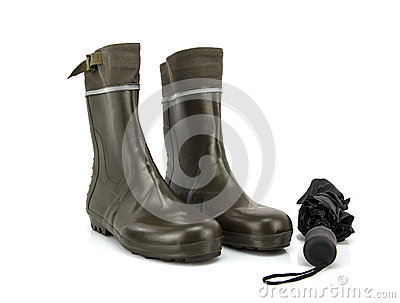 Wellington boots with umbrella