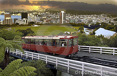 Wellington Cable Car - New Zealand Editorial Stock Photo