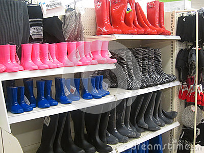 Wellington Rubber Or Rain Boots In A Store. Editorial Photo