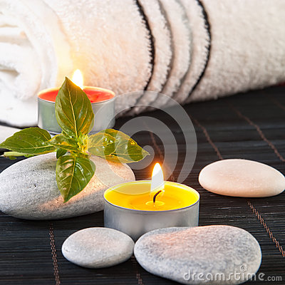 Free Wellness And Spa Concept With Candles Royalty Free Stock Photography - 26621907