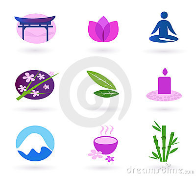Wellness, asia, relaxation and spa icon set