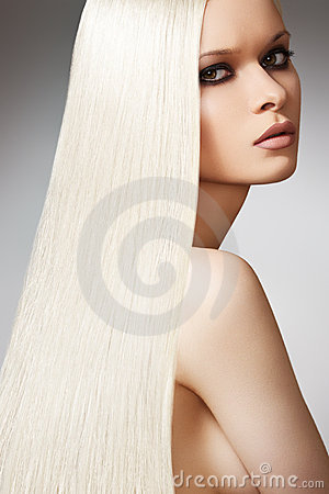 Wellness beautiful model, long blond straight hair