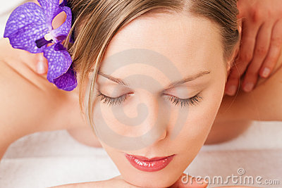 Wellness Girl having massage in Spa